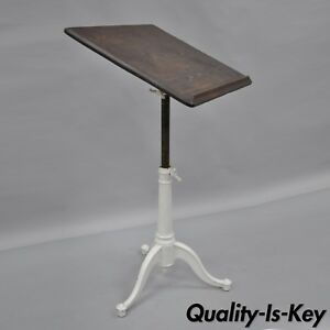 Eugene Dietzgen Cast Iron Wood Small Drafting Work Table Desk Tripod Base