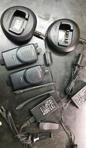 2 Motorola Bpr40 Mag One Vhf 8 Ch 4 Watt Two Way Radio Chargers Likenew