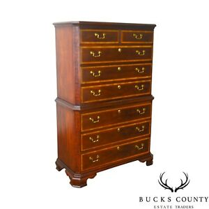 Thomasville The Mahogany Collection Banded Inlay Chippendale Style Tall Chest