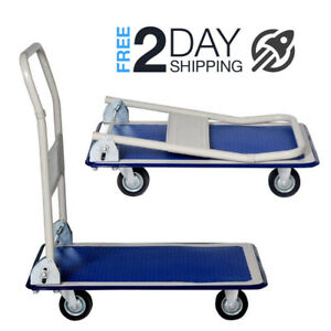 Folding Flat Utility Cart Trolley For Office Apartment Auto High Capacity Weight