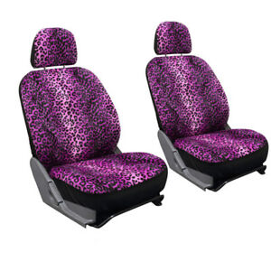 17pc Leopard Pink And Black Animal Print Complete Car Seat Cover Full Set Std 1a