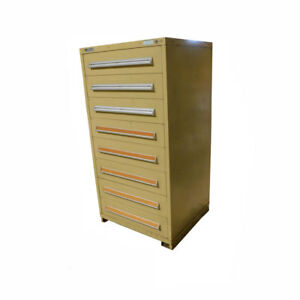 Stanley Vidmar 30 X 27 5 X 59 Tan 8 drawer Storage Cabinet W Dividers
