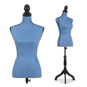 Female Mannequin Torso Dress Form With Wood Tripod Stand Pinnable Blue F9l0