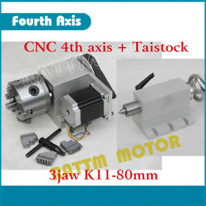K11 80mm 4th Fourth Axis Rotation 3 Jaw Chuck 65mm Tailstock Cnc Router Milling