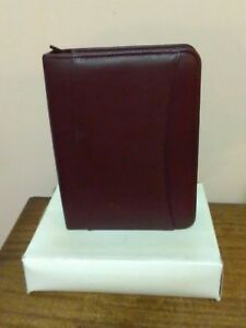 Franklin Covey Burgundy Compact Leather 1 Zipper Binder New