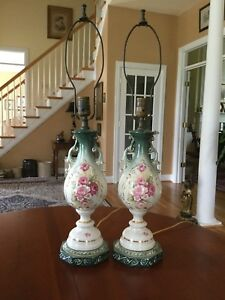 Antique Victorian French Porcelain Table Lamps
