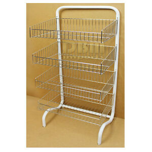 Floor Stand 4 Tier Wire Dump Bin Basket Retail Display Merchandise Storage Rack