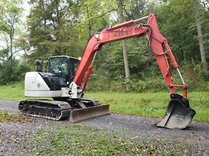 2014 Link belt 80x3 Spin Ace Hydraulic Excavator Midi W Rubber Road Pads Blade