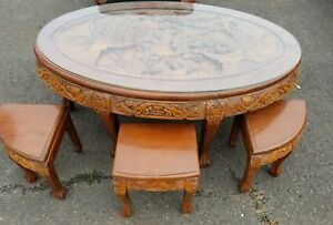 Antique Asian Hand Carved Low Coffee Tea Table With Glass Top And With Stools