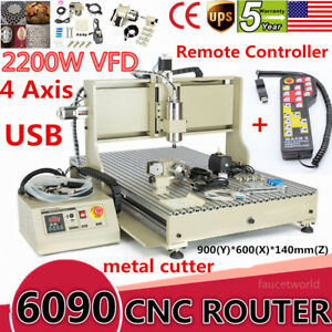 Usb 6090 2200w 4 Axis Cnc Router Engraver Metal Engraving Milling vfd controller