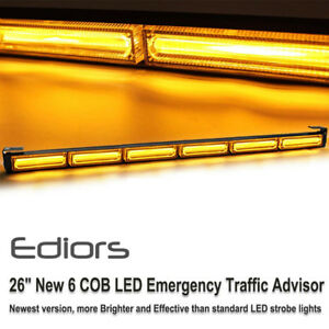 Roof Amber 26 Cob Led Warning Beacon Traffic Advisor Hazard Security Strobe Bar
