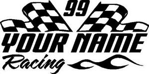 Name Number Racing Checkered Flag Flame Custom Vinyl Window Sticker