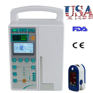 Medical Infusion Pump Iv Fluid Device Lcd Alarm Monitor Kvo Purge Record Spo2