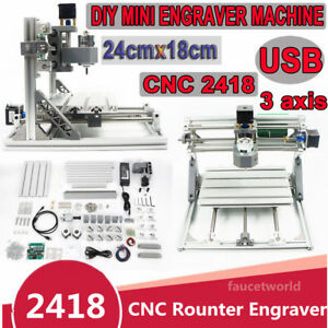3 Axis Diy Cnc 2418 Mill Wood Router Kit Usb Engraver Pcb Milling Machine Er11