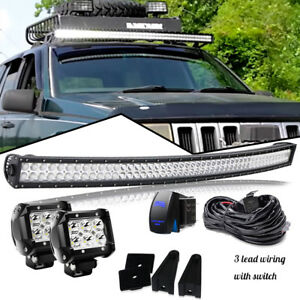 For 93 98 Jeep Grand Cherokee Zj 50 Curved Led Light Bar Offroad 4 Pods Cube