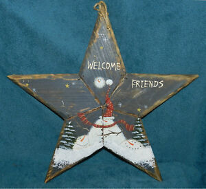 Nice Primitive Distressed Wood Star Snowman Sign Christmas Welcome Friends
