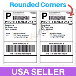 100 Shipping Labels Rounded Corner 2 Per Sheet 8 5 X 11 Self Adhesive Half sheet