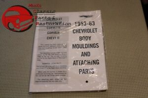 53 63 Chevy Body Mouldings Attaching Parts Book Manual