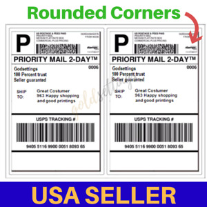 500 100 Shipping Labels 2 Per Sheet 8 5 X 11 Half sheet Rounded Corner Label