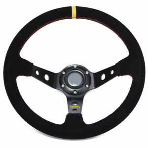 350mm 13 8inch Deep Dished Sport Racing Suede Alloy Steering Wheel 14025