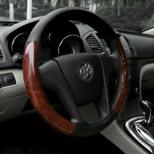 15 Leather Pu Car Steering Wheel Cover Set Black Wood Grain Universal Fit Sedan