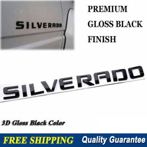 Silverado 3d Gloss Black Chevrolet Emblem Badge Letters Number Chevy Hood