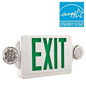 Lithonia Lighting 2 light Led Green Stencil Exit Sign emergency Light Combo