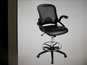 New Office Drafting Chair Mesh Back Adjustable Height Pu Leather Funiture Seat