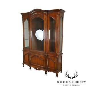 Century French Louis Xv Style Cherry Fruitwood Breakfront China Cabinet