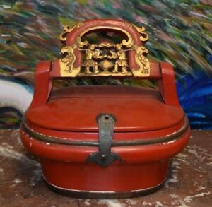 Antique Asian Red Wood Wedding Lunch Box