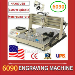 4 Axis Usb 6090 1500w Vfd Cnc Router Milling Engraver 3d Spindle Motor Machine