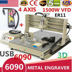 Usb 6090 1500w 4 Axis Vfd Cnc Router Engraver Engraving Milling remote Controler