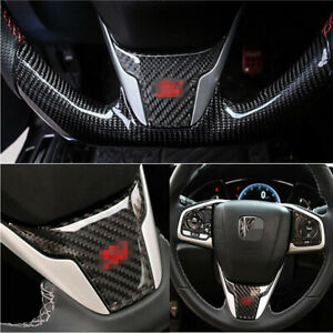 Abs Carbon Fiber Style Steering Wheel Cover Car Trim For Honda Civic 2016 2018