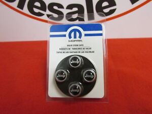 Jeep Tire Valve Stem Caps Silver Wjeep Logo New Oem Mopar