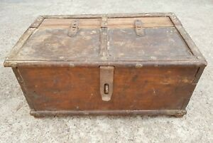 Old Handcrafted 3 Compartments Wooden Jewellery Box Mercantile Money Chest