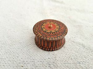 Old Early Original Handmade Painted Beautiful Round Wooden Box