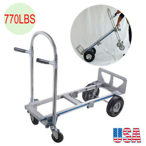 770lb Hand Truck 4 Wheel Stair Climber Folding Moving Dolly Cart Trolley Cart Us