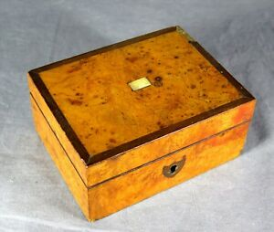 Antique Sailor S Wooden C 1850 Burled Wood Trinket Box Abalone Rosewood Inlay