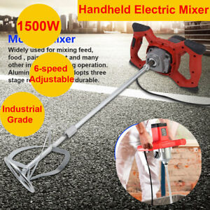 1500w Electric Mortar Mixer Dual High Low Gear 6 Speed Cement Grout Industrial