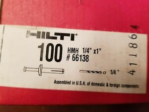 Hilti Hmh 66138 Metal Anchor Hit 1 4 X 1 With Carbon Steel Nail box Of 100