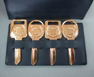 Vintage Cadillac Yellow Gold Plated 4 Keys Case C d 1968 1972 1976 1980 1987 90