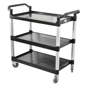 Omcan 24183 Black Plastic 3 Shelf Restaurant Utility Commercial Bus Cart