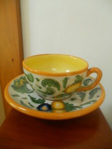 Vintage A 375 Italy Hand Painted Majolica Cup Saucer