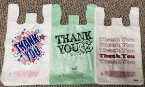 Thank You Plastic Shopping T shirt Bags 11 5 X 6 X 21 Americana styles Colors