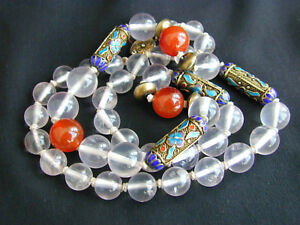 Old Chinese Rock Crystal Carnelian Cloisonne Filigree Silver Necklace 23 1 2