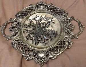 Oriental Japanese Birds Ancient Heavy Silverplate Plate