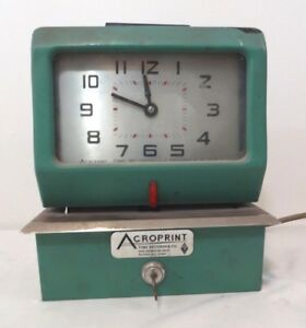 Acroprint Time Clock Time Recorder Co Model 125pr4 W key Tops Weekly Cards