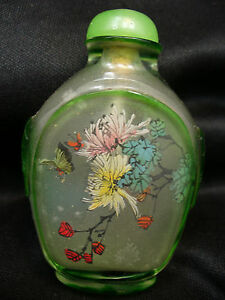 Vintage Chinese Reverse Painted Glass Snuff Bottle With Butterfly Motif