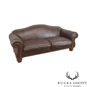 Lillian August Brown Leather Sofa With Down Filled Cushions