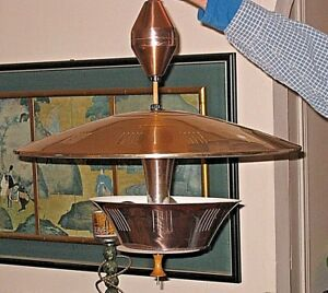 Old School Cool Copper Colored Mcm Ceiling Light Fixture Retro Vtg 22